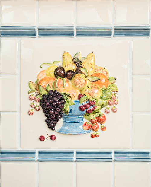 Fruit bowl plaque on Clematis 100x100 mm