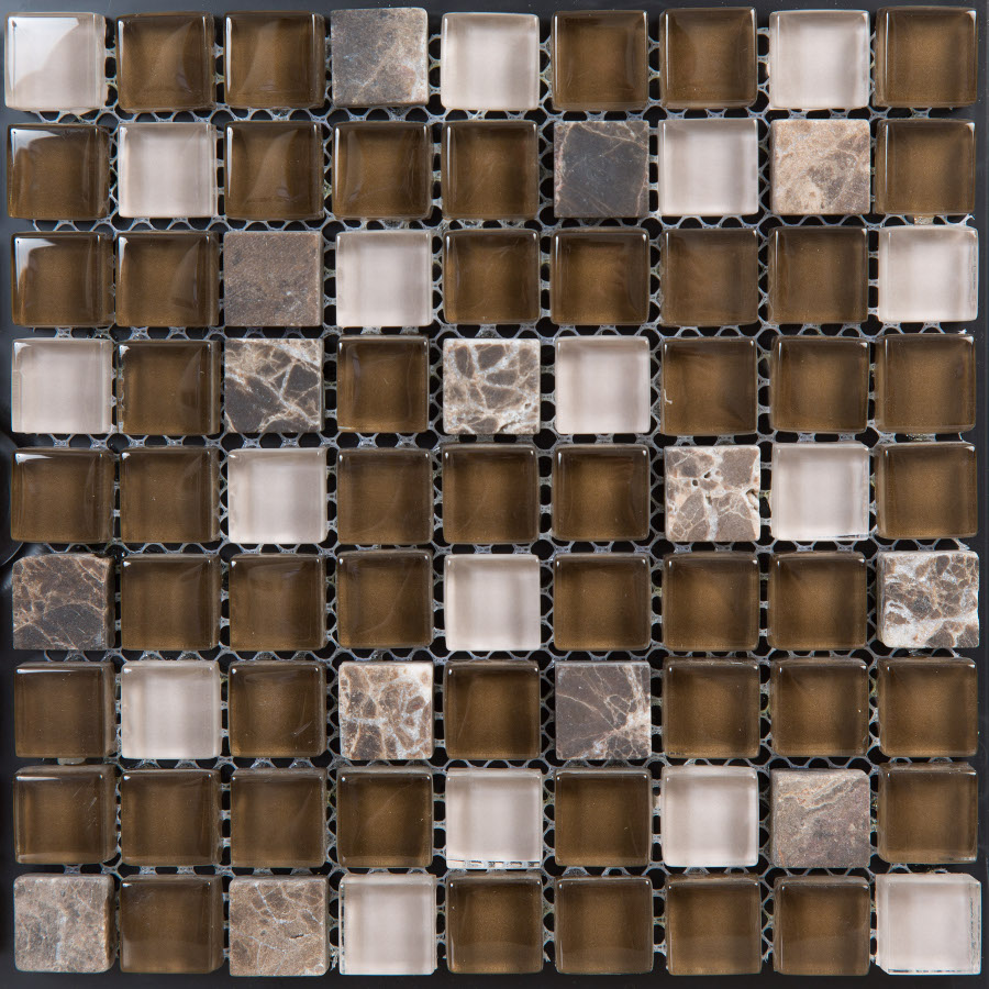 Emperador Brown Glass and Stone 305x305 mm