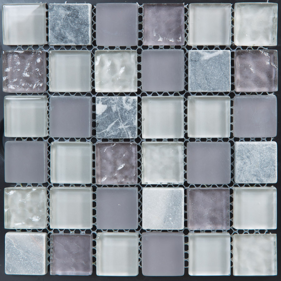 Soft Grey Glass and Stone 300x300 mm